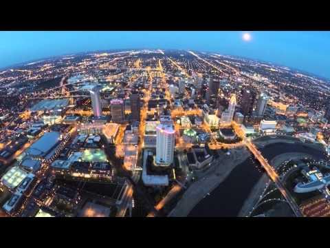 Evening quadcopter flight near downtown Columbus Ohio