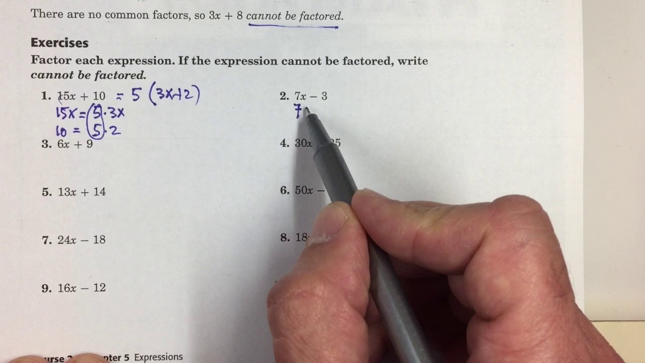 5-8 Factor Linear Expressions