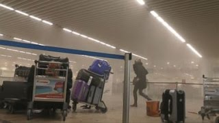 Brussels Airport Explosion Aftermath [RAW VIDEO](People are seen fleeing the airport and hiding minutes after a bomb exploded. SUBSCRIBE to ABC NEWS: https://www.youtube.com/ABCNews/ Watch More on ..., 2016-03-22T13:07:44.000Z)