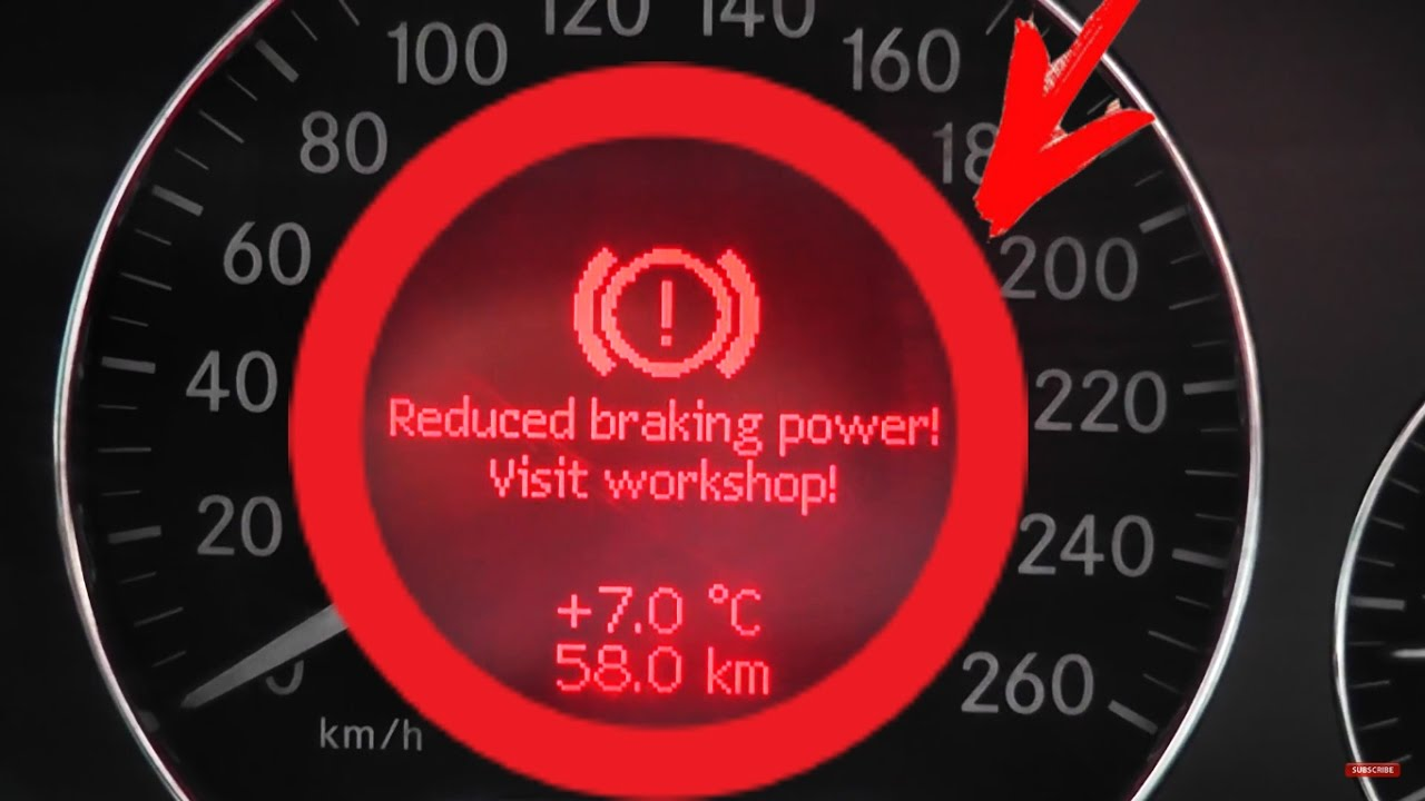Problem Reduced braking power! Start engine!  Mercedes W211, W219 Service brake visit workshop