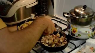 Жареная картошка с грибами! Очень вкусная!!! Рецепт.