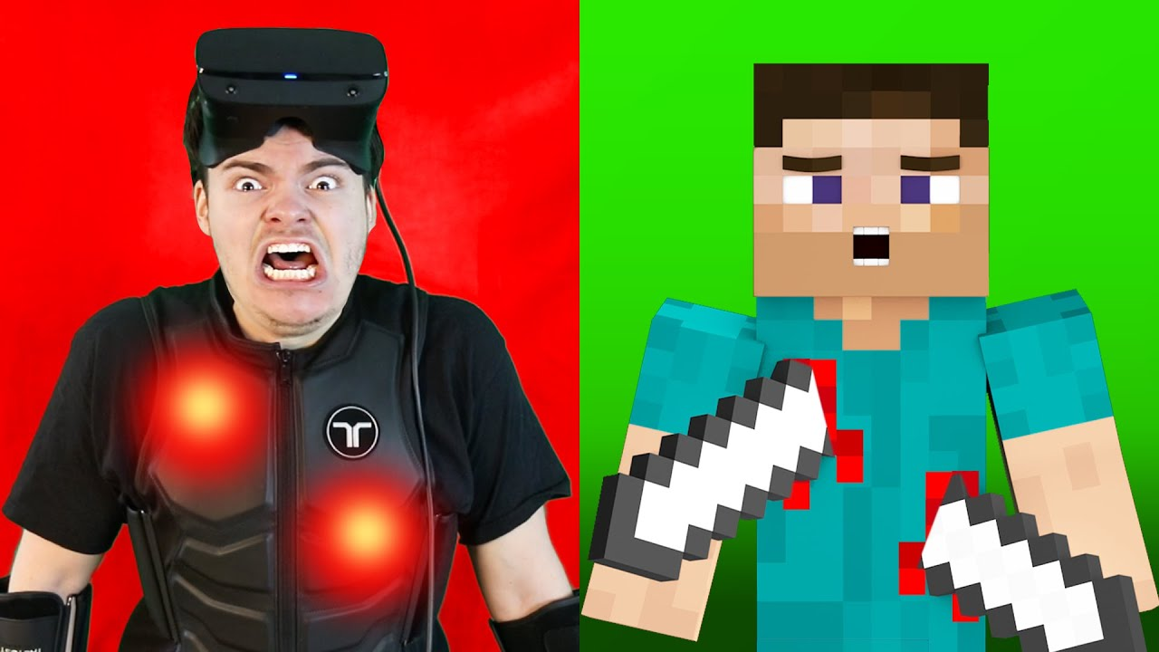 VR Minecraft Manhunt But I Can Feel Pain.. (Haptic Suit)