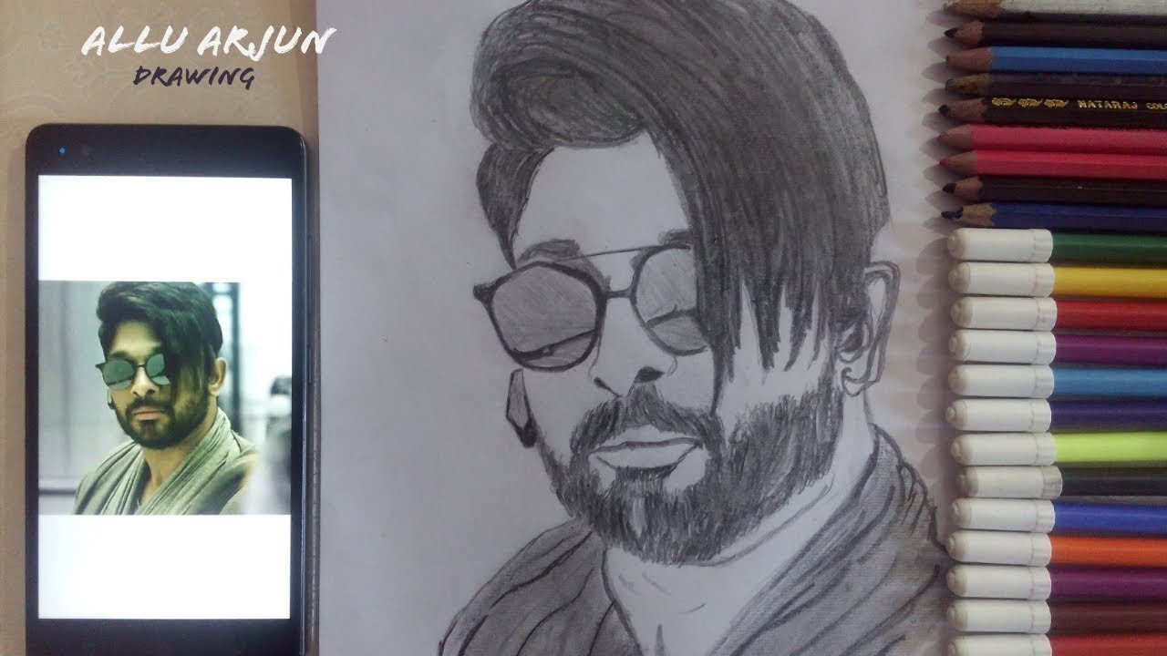 Allu Arjun Dj Movie Drawing Indian Film Actor Shivam Anand Gold Art Youtube