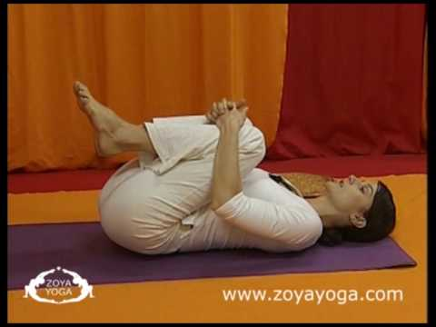Simple Yoga: Energy Freeing Pose (Apanasana) relieves constipation, backache & menstrual cramps.