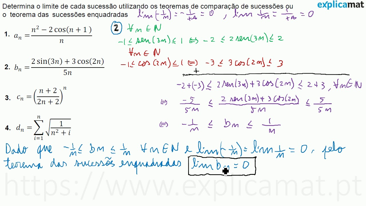 Teorema das Sucessões Enquadradas | Exercícios Práticos
