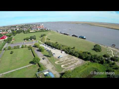 Aerial Film Of Burnham-on-Crouch Sea Wall And River
