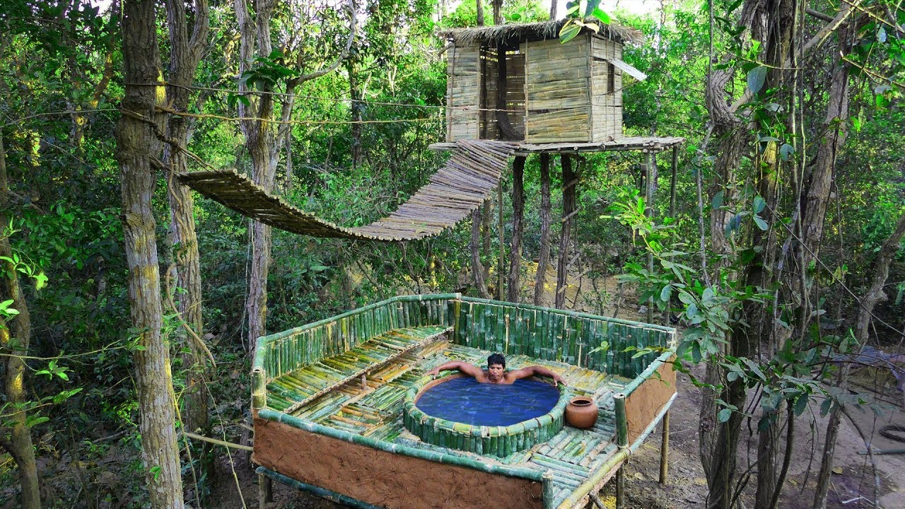 Building The Most Two-Story Bamboo Bath Pool Under Tree House