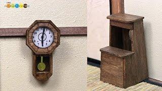 Miniature Clock and Step stool kit ミニチュアの振子時計と木製踏み台作り