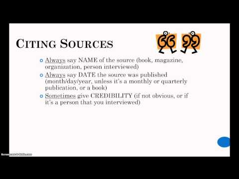 How to Cite Sources Verbally In Your Speech - YouTube