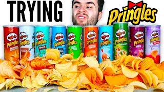 TRYING EVERY PRINGLES FLAVOR! - Pizza, Ranch, Salt and Vinegar, & MORE Chips Taste Test Challenge!