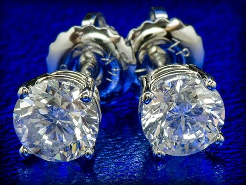 Золотые серьги-пусеты с бриллиантами 1.02 карат