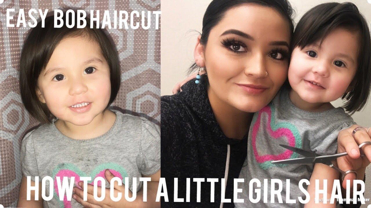 Little Girl Bob Haircut Tutorial How To Cut A Line Short Hair Youtube