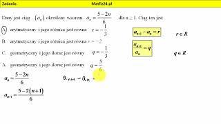 Zadanie 11. Matura 2018 matematyka. Czy jest to ciąg arytmetyczny? | MatFiz24.pl