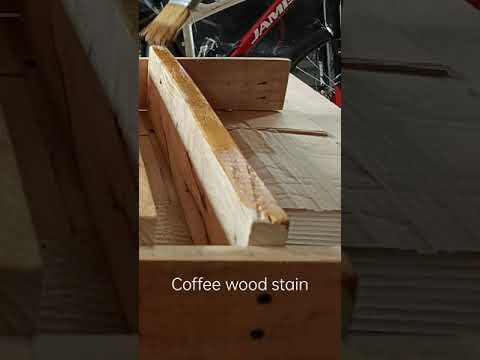 HOMEMADE COFFEE WOOD STAIN ON PALLET BICYCLE STAND #shorts thumbnail