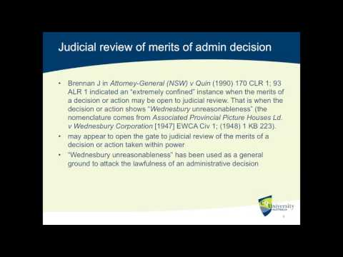 Administrative Law: Wednesbury Unreasonableness and Judicial Review (Lecture)