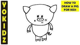 How to draw a pig cartoon for kids easy and simple