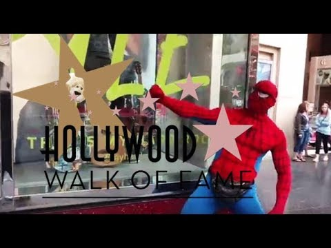 Walking the Hollywood Stars Walk of Fame Spiderman Star Wars Fid