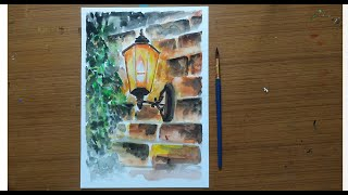 How to Paint a lighted Lamp on a brick wall | Watercolor Painting