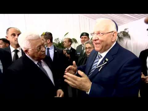 President Rivlin Meets with President Abbas at Shimon Peres' Funeral