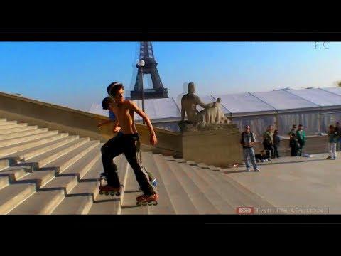 """Roller Skate Freestyle Paris """"tutorial"""" Descente en arrière un escalier - usd Paris Trocadéro (2014)"""