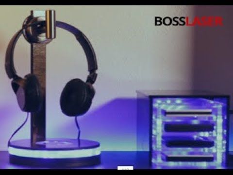 Laser Cut Wood & Acrylic Headphone Stand w/ LED's - Free File Download