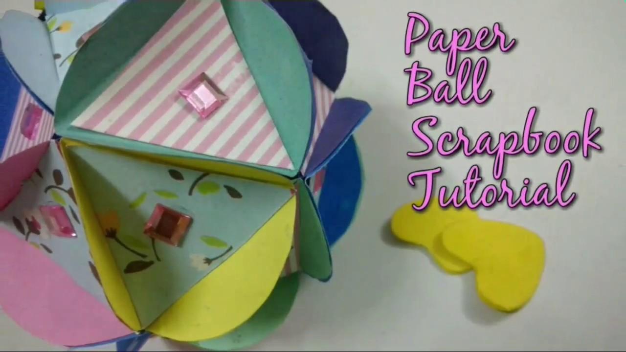 How to make a homemade scrapbook with construction paper - Diy Paper Ball Scrapbook Cum Christmas Ball Tutorial How To Craftlas