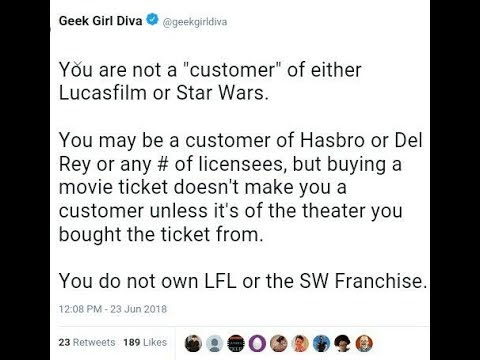 my response to perhaps the most stupid tweet I've ever read from a lucasfilm employee