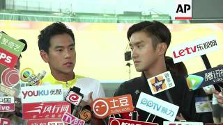 Eddie Peng and Choi Siwon on the set of new film 'To The Fore'