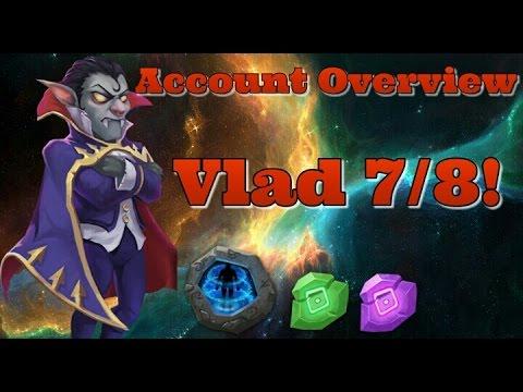 Castle Clash Account Overview! Vlad Dracula 7/8 Wargod!