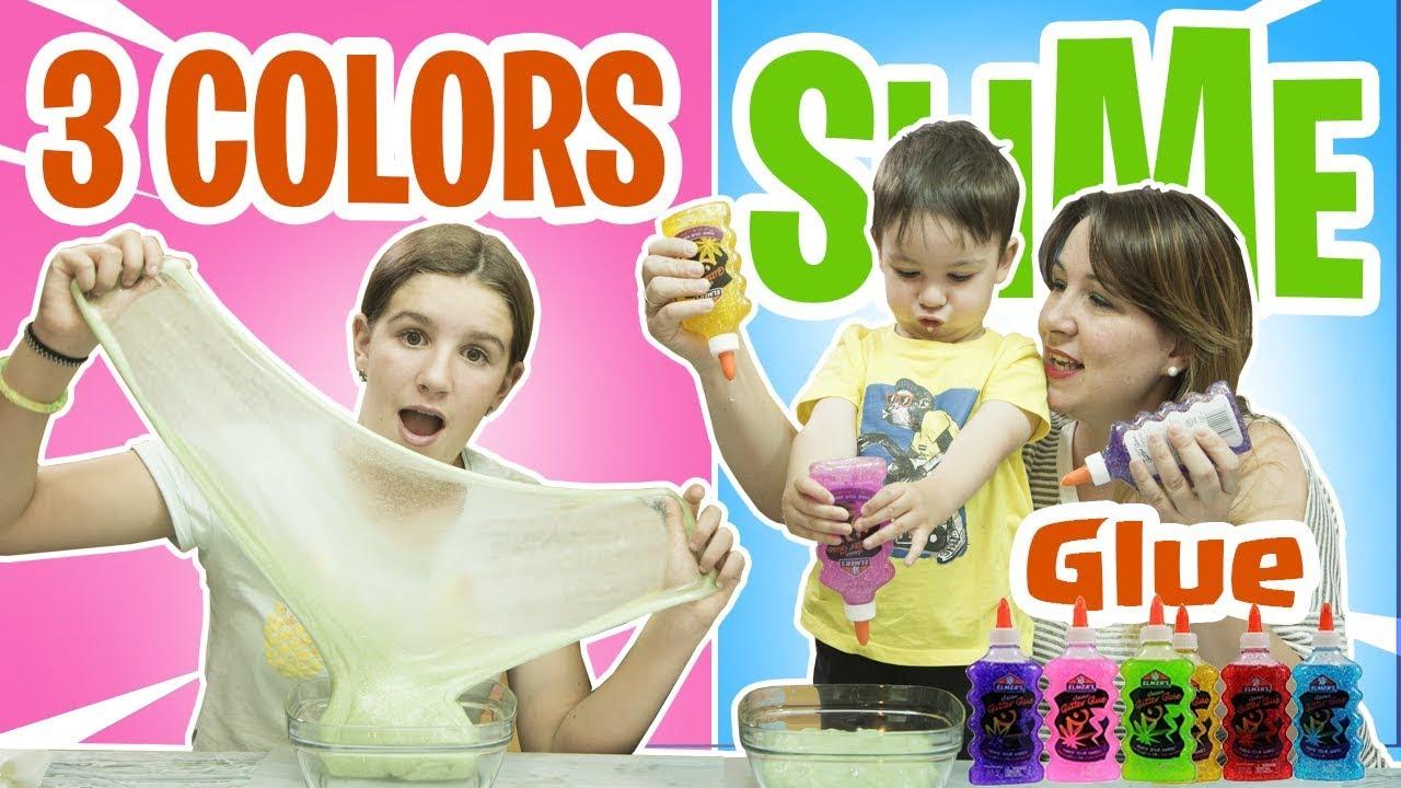 3 Colors Of Glue Slime Juego De Slime Casero By Juegos Y Juguetes En