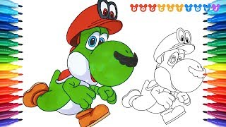 How to Draw Super Mario Odyssey, Yoshi Mario #190 | Drawing Coloring Pages Videos for Kids