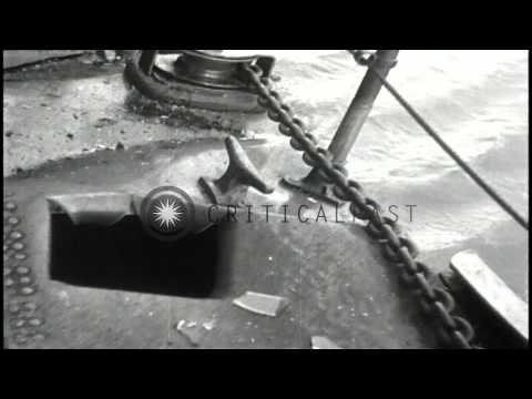 USS Gunboat Panay destroyed by Japanese bombing in the Yangtze River, China. HD Stock Footage