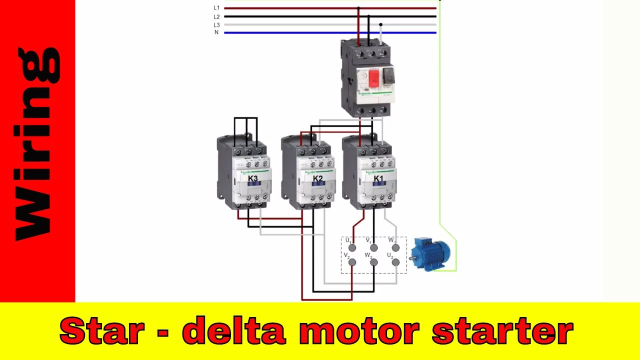 Schneider Star Delta Wiring Diagram: Wiring star-delta motor starter. Power and control circuit. - YouTuberh:youtube.com,Design