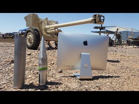 5k iMac vs 90mm Cannon - Slow Motion