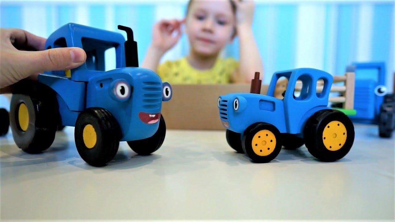 Синий трактор и животные для детей
