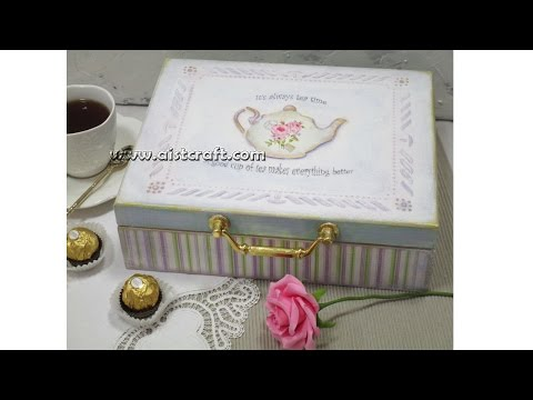 Decoupage tutorial - DIY. How to make your own tea box / keepsake box. Vintage style. Shabby chic.