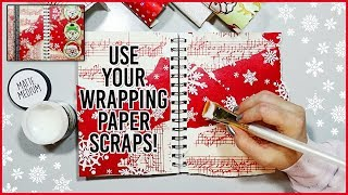 Limited Supplies Art Journal Collage with Wrapping Paper Scraps 🎁
