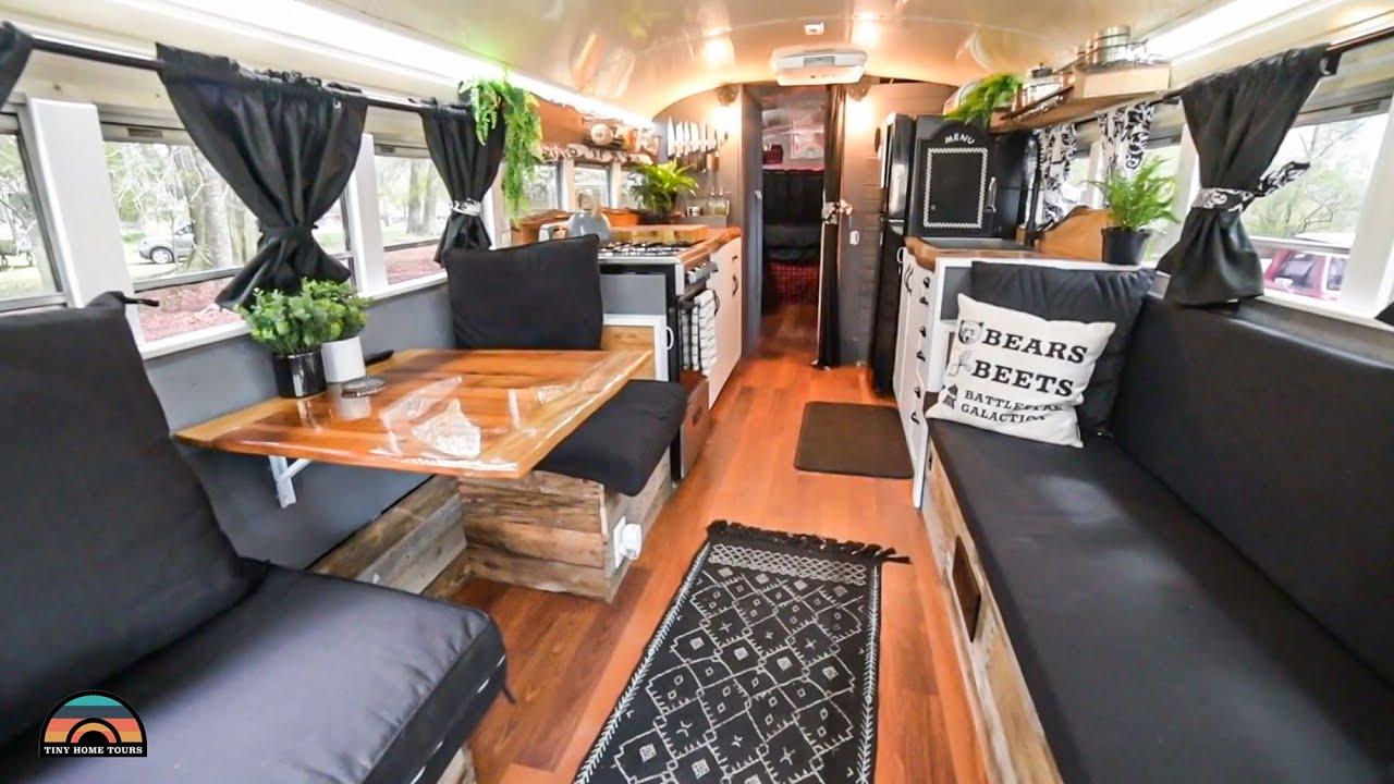 Gorgeous DIY Skoolie W/ Chef Designed Kitchen, Full Bathroom & Office