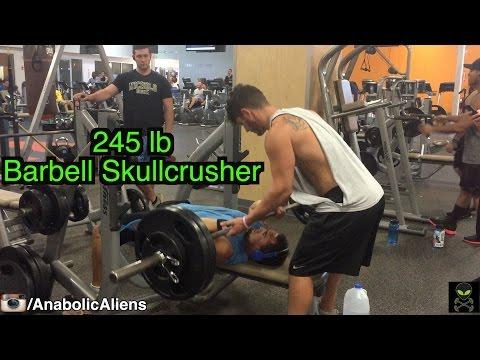 245 lb Barbell Skullcrusher PR (Mike Rosa, 20 years old, 188 lbs)