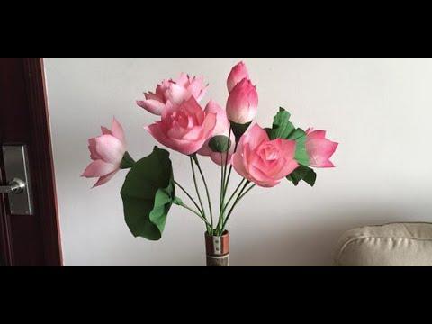 Hướng dẫn làm hoa Sen bằng giấy nhún ( Phần 1)