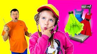Three kids Дарья играет и веселится вместе с папой Видео для детей