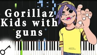 Gorillaz - Kids with guns [Piano Tutorial] Synthesia | passkeypiano