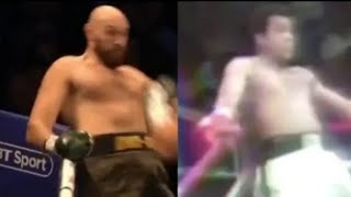 "Tyson Fury tries the Ali ""dope a rope"" move"