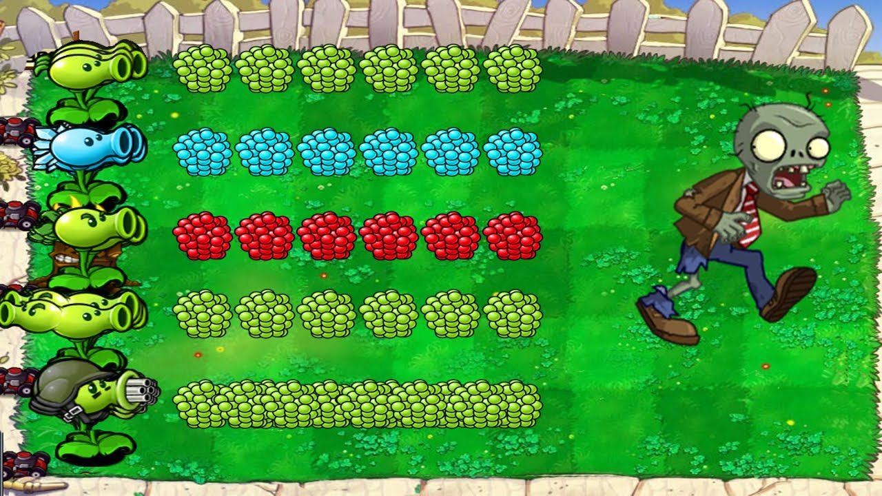 Peashooter vs Snow Pea vs Repeater vs Gatling Pea vs Split Pea vs All Zombies | PvZ Battlez