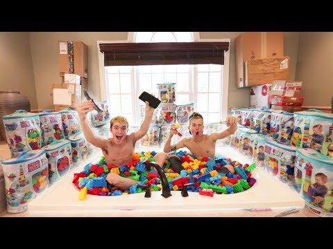 BATHTUB FULL OF 10,000 LEGOS CHALLENGE! FEAT TANNER FOX