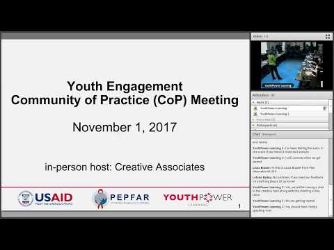 YouthPower Learning Youth Engagement Community of Practice (CoP) Meeting - November 1, 2017