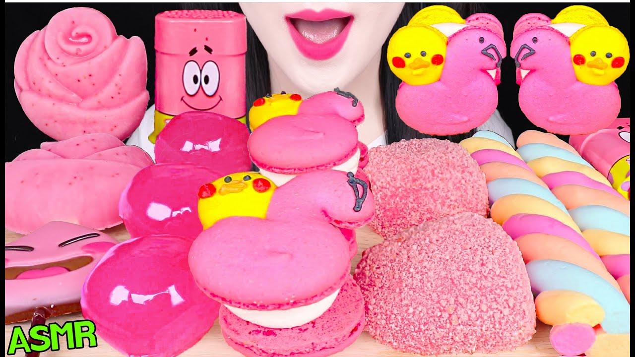 ASMR PINK FOODS *ROSE ICE CREAM, FLAMINGO MACARON, PEACH RICE CAKE 장미 아이스크림, 복숭아 젤리 먹방 EATING SOUNDS