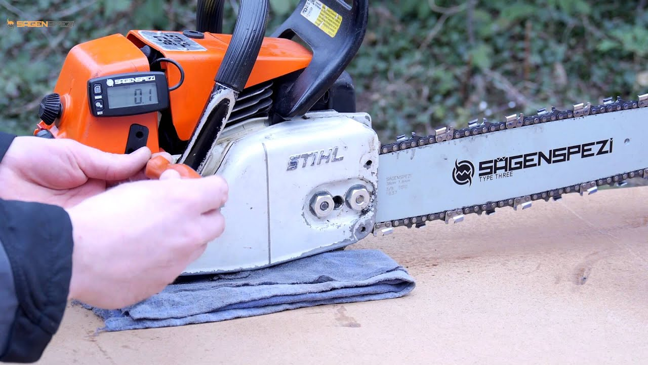 utilisation du compte tours sur une tron onneuse stihl youtube. Black Bedroom Furniture Sets. Home Design Ideas