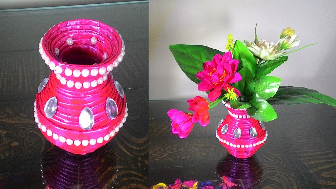 How To Make Newspaper Flower Vase Diy Newspaper Crafts Youtube