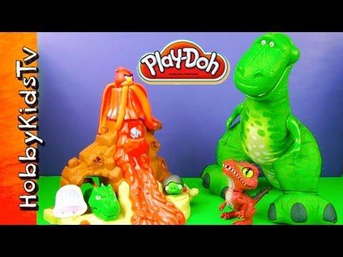PLAY-DOH Volcano Dinosaurs Rex Toy Story Angry Bird Caveman Magic Fun Dough by HobbyKidsTV